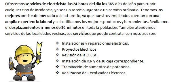 Electricistas San Fernando servicios económicos las 24 horas
